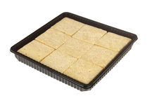 Bandeja de vSquares de la galleta de la torta dulce Imagenes de archivo