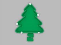 Bandeja del árbol de navidad con el tronco y las estrellas blancas, concepto del festival foto de archivo