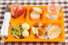 Bandeja del almuerzo escolar Fotografía de archivo libre de regalías