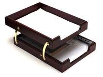 Bandeja del papel de madera Fotos de archivo