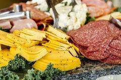 Bandeja del partido de la carne y del queso Imagen de archivo