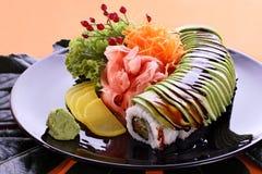 Bandeja del partido del sushi Fotos de archivo libres de regalías