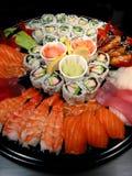 Bandeja del partido del sushi Fotografía de archivo