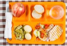 Bandeja do almoço escolar Imagens de Stock