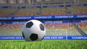 Bandeja do close-up em torno de um futebol na grama em um estádio vazio ilustração do vetor