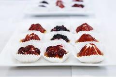Bandeja doce de abastecimento da sobremesa das galdérias do fruto e da baga classificada Foto de Stock Royalty Free