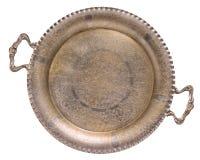 Bandeja dorada de plata del tracery de la antigüedad vieja vacía aislada en el fondo blanco Estilo retro imagen de archivo