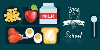 Bandeja horizontal do jantar da bandeira do almoço dos alunos com o ovo cozido dos pilões de galinha ilustração stock