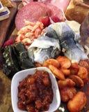 Bandeja misturada da carne de peixes etc. imagem de stock royalty free