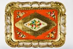 Bandeja pintada colorida do vintage fotos de stock royalty free