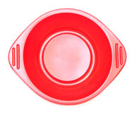 Bandeja plástica vacía roja de la comida Imagenes de archivo