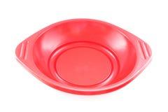 Bandeja plástica vacía roja de la comida Imagen de archivo libre de regalías