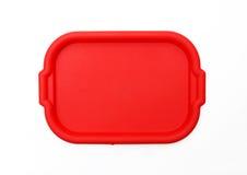 Bandeja/placa vermelhas do serviço do almoço de escola Fotografia de Stock