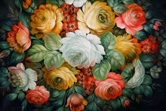 Bandeja preta pintada com testes padrões florais. Imagens de Stock Royalty Free