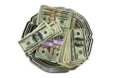 Bandeja superior do dinheiro fotos de stock