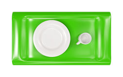 A bandeja verde com tampão vazio e a placa 3d modelam Imagens de Stock