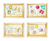 Bandejas com café da manhã ilustração stock