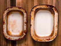 Bandejas gastos rústicas da torta Imagens de Stock