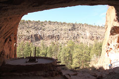 Bandelier National Monument 13. From Alcove house on Ceremonial Cave to view Frijoles Canyon Stock Photo