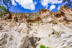Bandelier National Monument Park in Los Alamos New Mexico. The canyons in Bandelier National Monument Park in New Mexico near Los Alamos Stock Photo