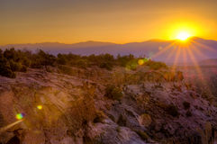 Bandelier Sunrise. Golden sunrise over Bandelier National Monument Stock Photos