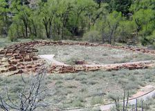Bandelier Villiage Ruins as seen from Cliff Dwellings. The monument preserves the homes and territory of the Ancestral Puebloans of a later era in the Southwest stock photo