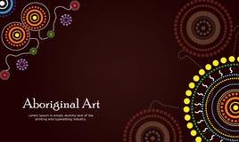 Bandera aborigen del arte Bandera del vector con el texto Fotos de archivo libres de regalías
