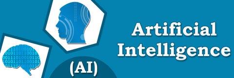 Bandera abstracta azul de la inteligencia artificial Imágenes de archivo libres de regalías
