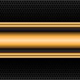 Bandera abstracta de la etiqueta del oro en vector negro de la malla del círculo Imagenes de archivo