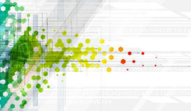 Bandera abstracta de la tecnología de la información general del hexágono del color