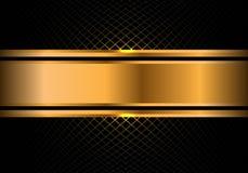 Bandera abstracta del oro en vector de lujo moderno del fondo del diseño de la malla de la casilla negra Imágenes de archivo libres de regalías