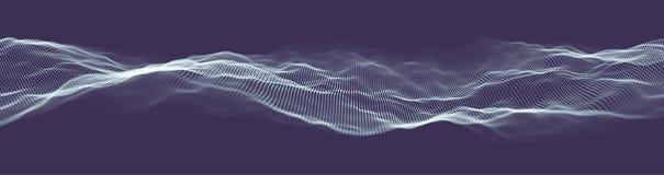 Bandera abstracta del web de la tecnología Rejilla del fondo 3d Wireframe futurista de la red del alambre de la tecnología del Ai Imagen de archivo