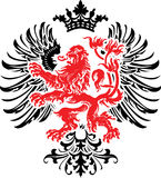Bandera adornada de la armería decorativa roja negra. Imagen de archivo