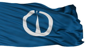 Bandera aislada de la ciudad de Tsuruga, prefectura Fukui, Japón metrajes