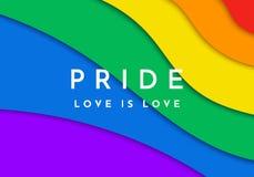 Bandera alegre del orgullo Bandera cortada de papel del espectro del arco iris libre illustration