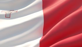 Bandera altamente detallada agitada del primer de Malta ilustraci?n 3D ilustración del vector