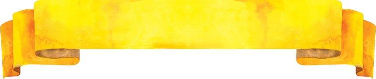 Bandera amarilla de la acuarela Stock de ilustración