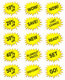 Bandera amarilla de la comercialización Fotografía de archivo