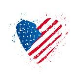 Bandera americana bajo la forma de corazón grande Ilustraci?n del vector ilustración del vector