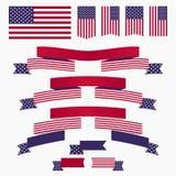 Bandera americana, cintas y banderas azules blancas rojas Fotos de archivo libres de regalías