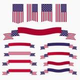 Bandera americana, cintas y banderas azules blancas rojas Imagen de archivo