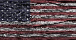 Bandera americana con el alto detalle del viejo fondo de madera ilustración del vector