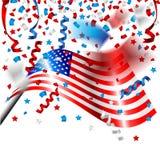 Bandera americana con el confeti para el Día de la Independencia de los E.E.U.U. Fotografía de archivo libre de regalías