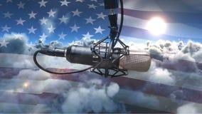 Bandera americana con el micrófono