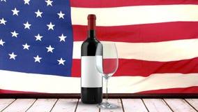 Bandera americana con el vino tinto almacen de video