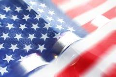 Bandera americana con las cáscaras de escopeta Fotografía de archivo libre de regalías