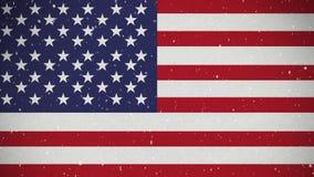Bandera americana con nieve almacen de metraje de vídeo