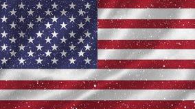 Bandera americana con nieve almacen de video