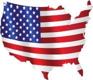 Bandera americana con un mapa Imagenes de archivo