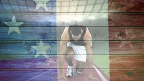 Bandera americana con vídeo del corredor metrajes